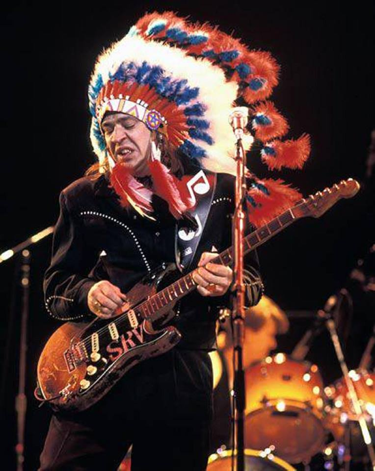 Stevie Ray Vaughan On Stage in Headdress