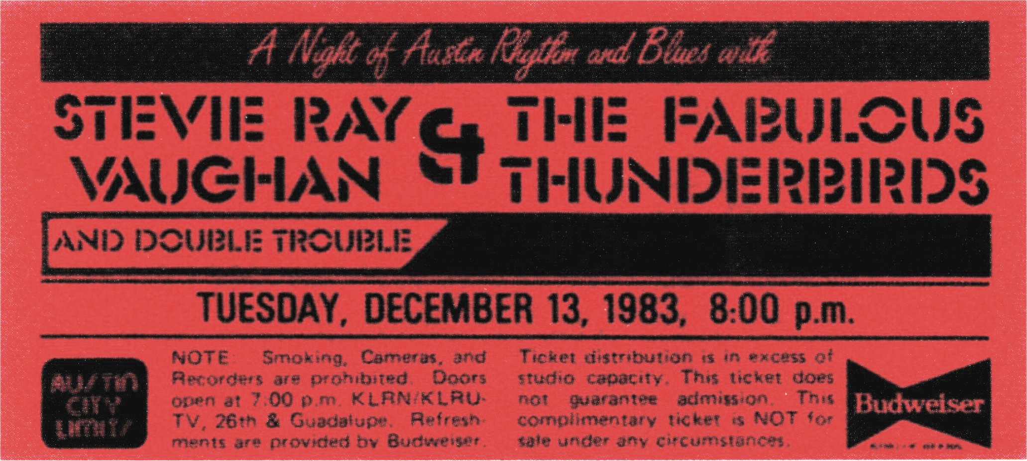 Texas Flood Tour Ticket Stub