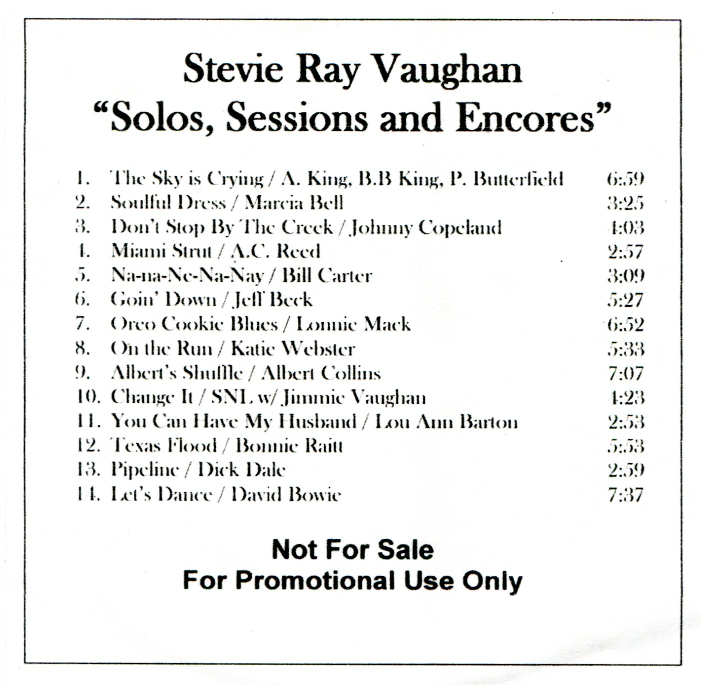 Stevie Ray Vaughan - Solos, Sessions and Encores US Promo
