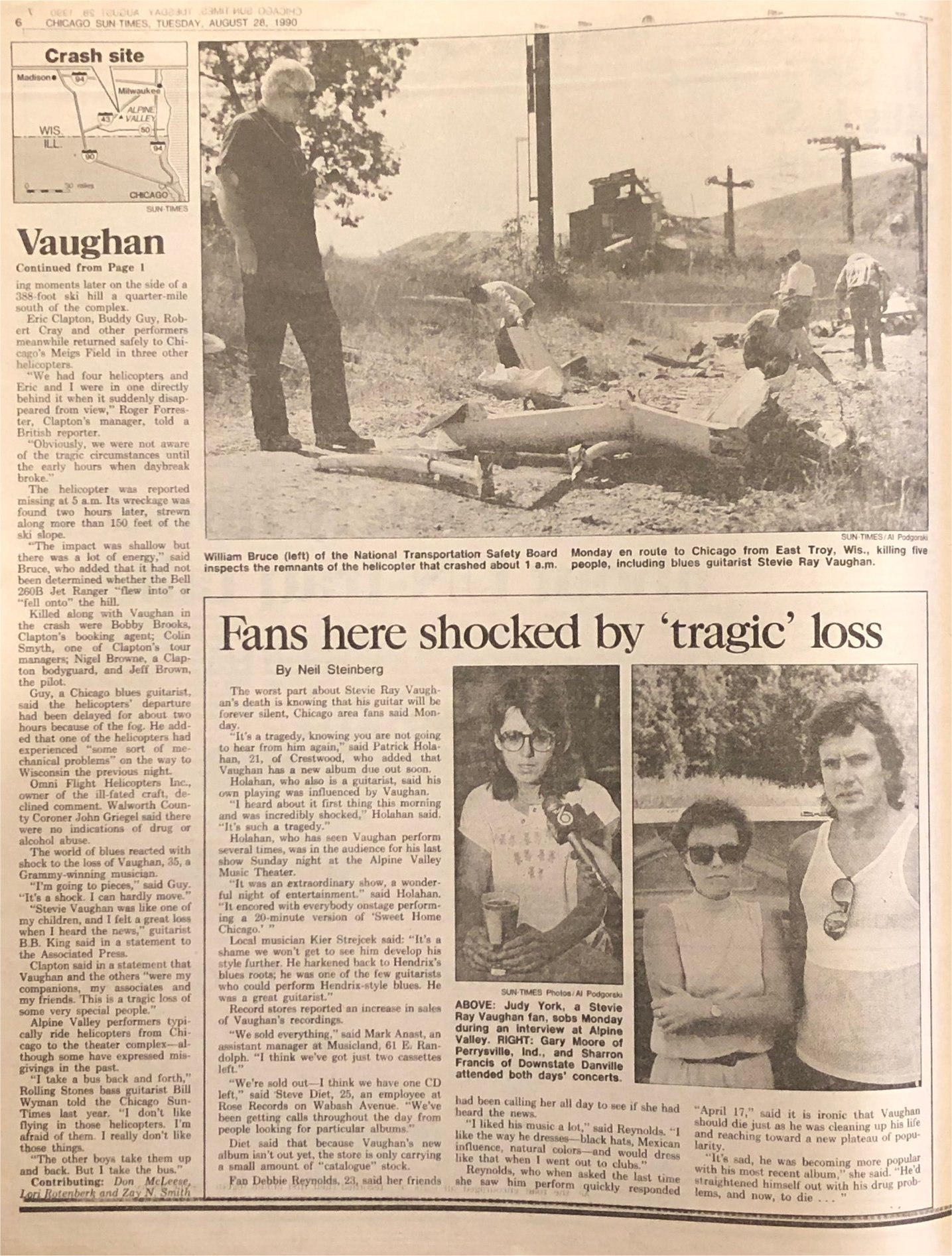 Stevie Ray Vaughan Death Newspaper Report