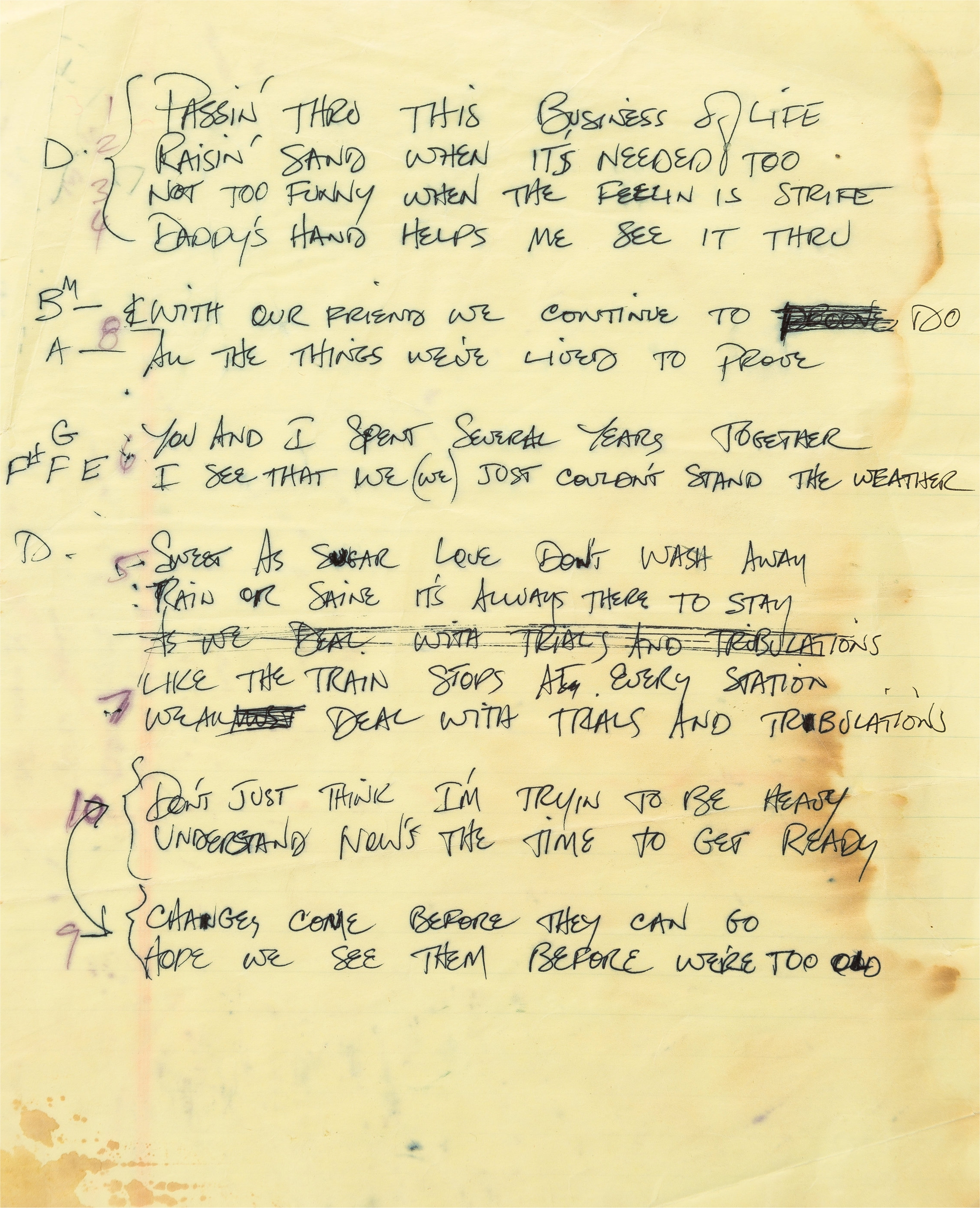 Couldn't Stand the Weather Handwritten Lyrics