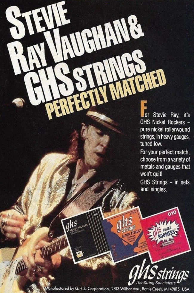 Stevie Ray Vaughan GHS Strings Advertisement