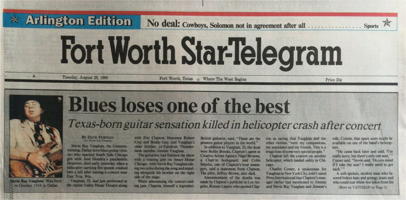 Stevie Ray Vaughan - Fort Worth Star-Telegram Death Report