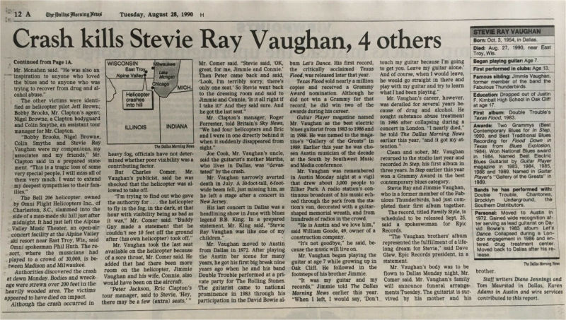 Stevie Ray Vaughan - Dallas Morning News Death Report