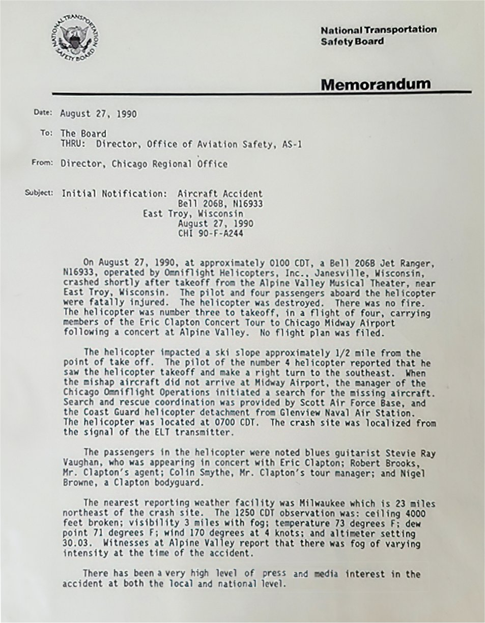 Stevie Ray Vaughan NTSB Memo